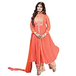 Siddh Creation Straight Gown Orange Embroidered suit