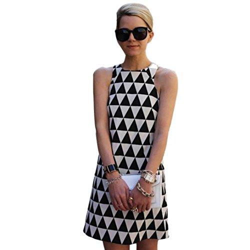 Wensltd Clearance! Women Sleeveless Black&White Plaid Party Beach Short Mini Dress (XL)