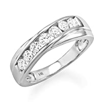 0.90 Carat 14k White Gold Round Diamond - Gay Mens Wedding Ring