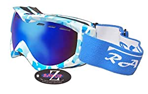 Rayzor Professional UV400 Double Lensed Ski / SnowBoard Goggles, With a Matt Blue Camouflage Frame with an Anti Fog Coated, Vented Blue Smoked Anti-Glare Clarity Wide Vision Lens.