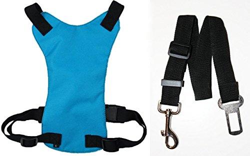 Artikelbild: DappaDogTM Hunde Autositz SICHERHEITSGURT inklusive anpassbarer Clip-On-Sitzgurtleine mittelgroß Farbe Blau