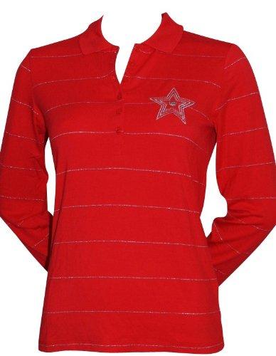 GANT Polo a maniche lunghe da donna elasticizzati polo da donna taglia L colore rosso argento con motivo a righe