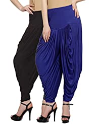 Fashion And Freedom Women's Pack Of 2 Black And Blue Viscose Dhoti
