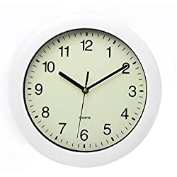 Maytime Office Home Decor Simple Modern Stylish Featuring luminous dial 11 Inch Nightlight Silent Non-ticking Wall Clock White