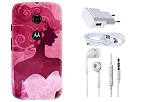 Spygen Motorola Moto E2 Combo of Premium Quality Designer Printed 3D Lightweight Slim Matte Finish Hard Case Back Cover + Charger Adapter + High Speed Data Cable + Premium Quality Handfree