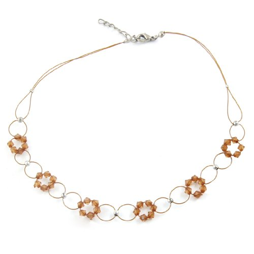 Rosallini Beads Linked Floral Detail Brown Plastic Necklace for Ladies