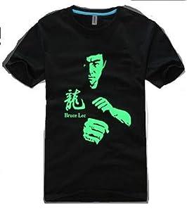 注目必至!夜光Tシャツ ブルース リー 風 [ Tシャツ + ミニ ステッカー + ホイッスル] XL コスプレ 面白Tシャツ イベント