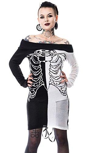 Heartless Clothing -  Vestito  - Maniche lunghe  - Donna nero/bianco M