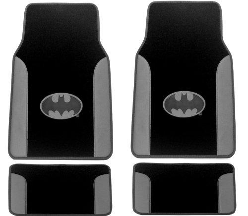 Batman Full 4Pc Floor Mat Gift Set Gotham City Gray Leather Trim - Silver Logo Front & Rear Plush Carpet With Leather Trim Car Truck Suv Floor Mat front-597752