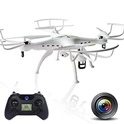 Quadcopter Drone with 6 Axis Gyro RC and 2MP HD Camera. Awesome 360 Degree Rolling Mode & Remote Control Transmitter With Flashing LED Lights