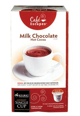 Cafe Escapes Milk Chocolate Hot Cocoa KCups, K-Cups for Keurig Brewers, 16 pack