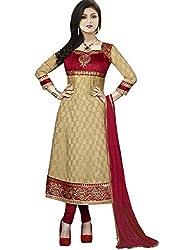 DivyaEmporio Women's Faux Crepe Beige Salwar Suit Dress Material