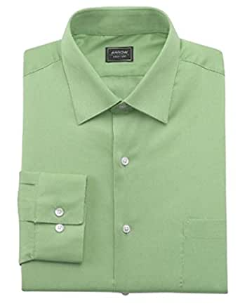 Arrow mens fitted spread collar sateen no iron dress shirt Mens no iron dress shirts