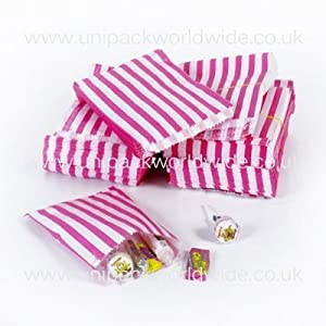 "Pink Candy Stripe Paper Bags - 5"" x 7"" - (1 pack =100 bags)"