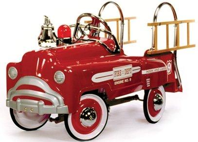 American-Retro Classic Pedal Fire Truck - Deluxe White Trim