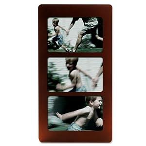 Lawrence Frames Walnut Wood 6x4 Multi Triple Horizontal Picture Frame
