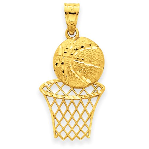 14k Gold Solid Diamond -Cut Basketball & Net Charm