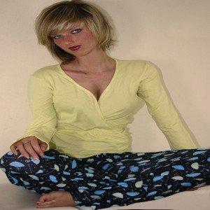 Pretty, stylish umbrella print pyjamas with crossover top.