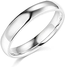 925 Sterling Silver Rhodium Plated 4mm COMFORT FIT Plain Wedding Band