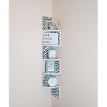 Adorn home essentials  Corner Zig Zag Wall Mount Shelves  5-Tier, Zebra with White Edging