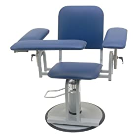 "TK Manufacturing Hydraulic Height Adjustable 350 Lb Capacity Blood Drawing (Phlebotomy) Chair, Seat Adjusts from 20"" to 27"", Dark Blue Fully Upholstered Chair, Made In The USA"