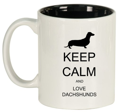 Keep Calm And Love Dachshunds Ceramic Coffee Tea Mug Cup White Black