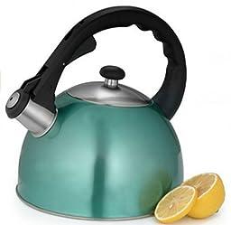 Creative Home Satin Splendor 2.8-Quart Whistling Tea Kettle, Aqua