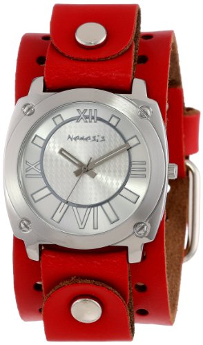 Nemesis Women's RGB066S Roman Numeral Collection Silver on Red Leather Band Watch