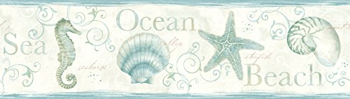 Island Bay Teal Seashells Wallpaper Border