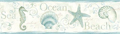 Island Bay Teal Seashells Wallpaper Border