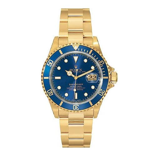 Rolex Submariner Champagne Diamond Dial Oyster Bracelet 1k Yellow Gold Mens Watch CDO