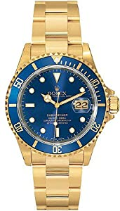 Rolex Submariner Blue Index Dial Oyster Bracelet 18k Yellow Gold Mens Watch 16618BLSO