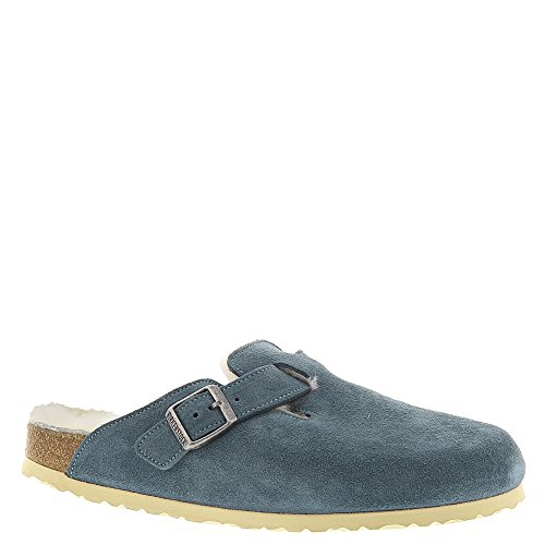 Birkenstock Women's Boston Shearling Clog Steel Blue Suede S