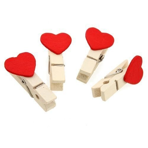 Wood Clips 60pcs Laundry &Crafts Natural Wooden Laundry Clip Clothes Pins Love Heart Style