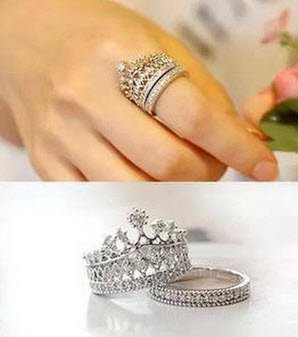size : 6, 2015 New Fashion Crystal Crown Ring For Women South Korean jewelry Queen of party joker sweet ring B6 TT431 SJ001