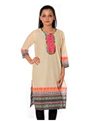 Kyaara Women Cotton Printed Off-White Kurti