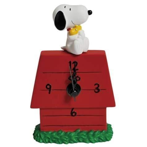 Peanuts Snoopy Hugging Woodstock Desk Clock Westland Figurine
