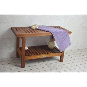 AquaTeak 30 Inch Teak Grate Shower Bench with Shelf at Sears.com