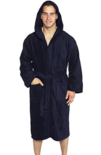 Full Length Hooded Terry Bathrobe Unisex, 100% Combed Pure Turkish Cotton, Made in Turkey - Navy ... (Hooded Terry Cloth Robe For Women compare prices)