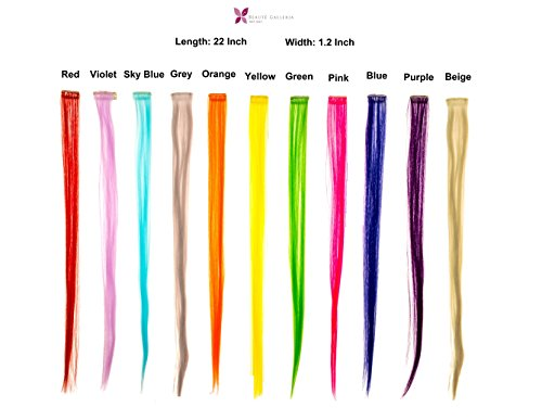 Beaute Galleria - Bundle 11 Pieces of 22 Inches Multi-Colors Party Highlights Clip In Synthetic Hair Extensions (Highlight Extensions Clip compare prices)