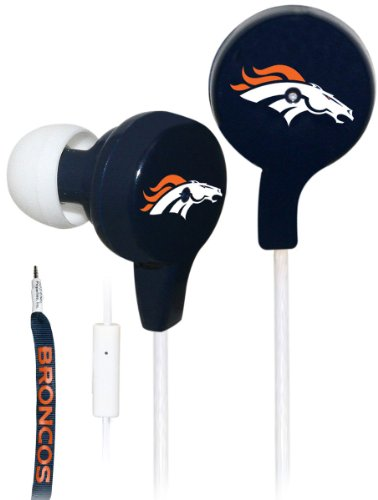 Ihip Official Nfl - Denver Broncos - Great Quality Shoelace Style Earbud With Built In Microphone, Nfe52Deb