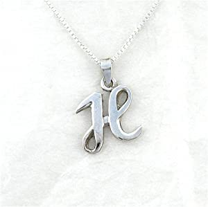 sterling silver initial charm necklace letter