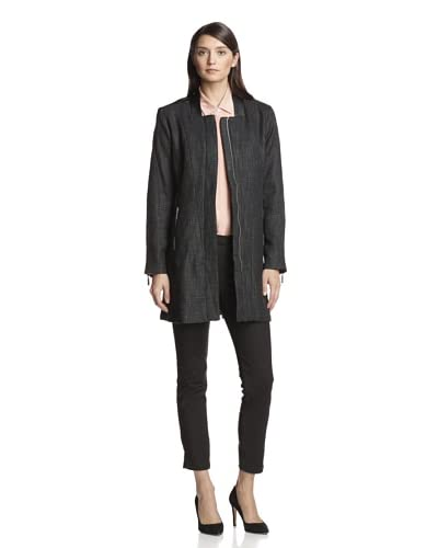 Vince Camuto Women's Trench with Faux Leather  [Black]