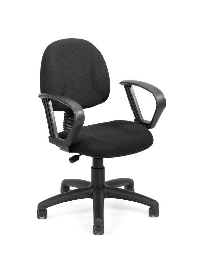Black Fabric Office Task Chair with Built-In Lumbar Support