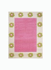 Little Helper IVI - Alfombra hipoalergénica con bordado en relieve (tamaño grande, 134 x 180 cm), diseño de flores, color rosa de IVI
