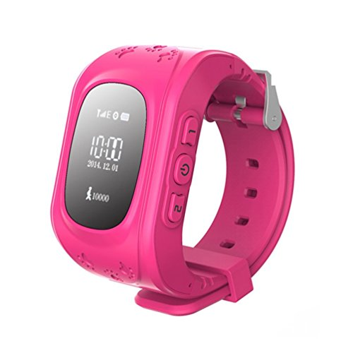 Hideer Q50 Kids Safety GPS Watch Wristwatch SOS Call Location Finder Locator Tracker for Kid Children Anti Lost Monitor Baby Son Daughter Gift (Pink)