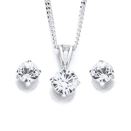 Chic Silver Swarovski Crystal Birthstone Pendant/Earring Set with 46cm Chain October