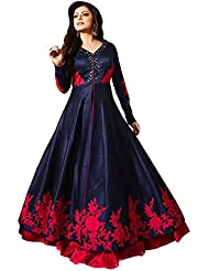 Clickedia Women's Bhagalpuri Silk Black & Red Flower Print Semi Stitched Anarkali - Dress Material