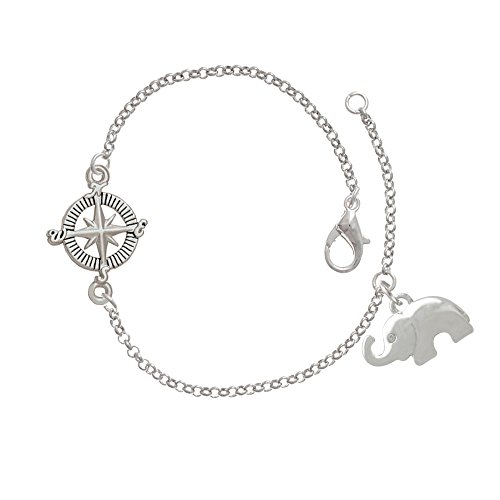 Silver Elephant with Crystal Eyes Delicate Compass Bracelet