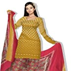 Unnati Silks South cotton unstitched party wear mango yellow and core red color zari bootis salwar kameez with chiffon dupatta